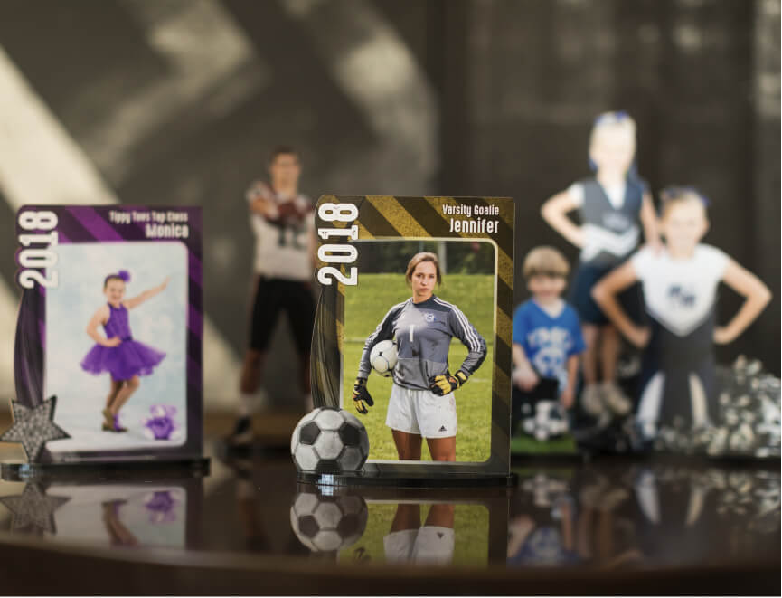 Selling sports photography products to parents | pictured: Statuettes