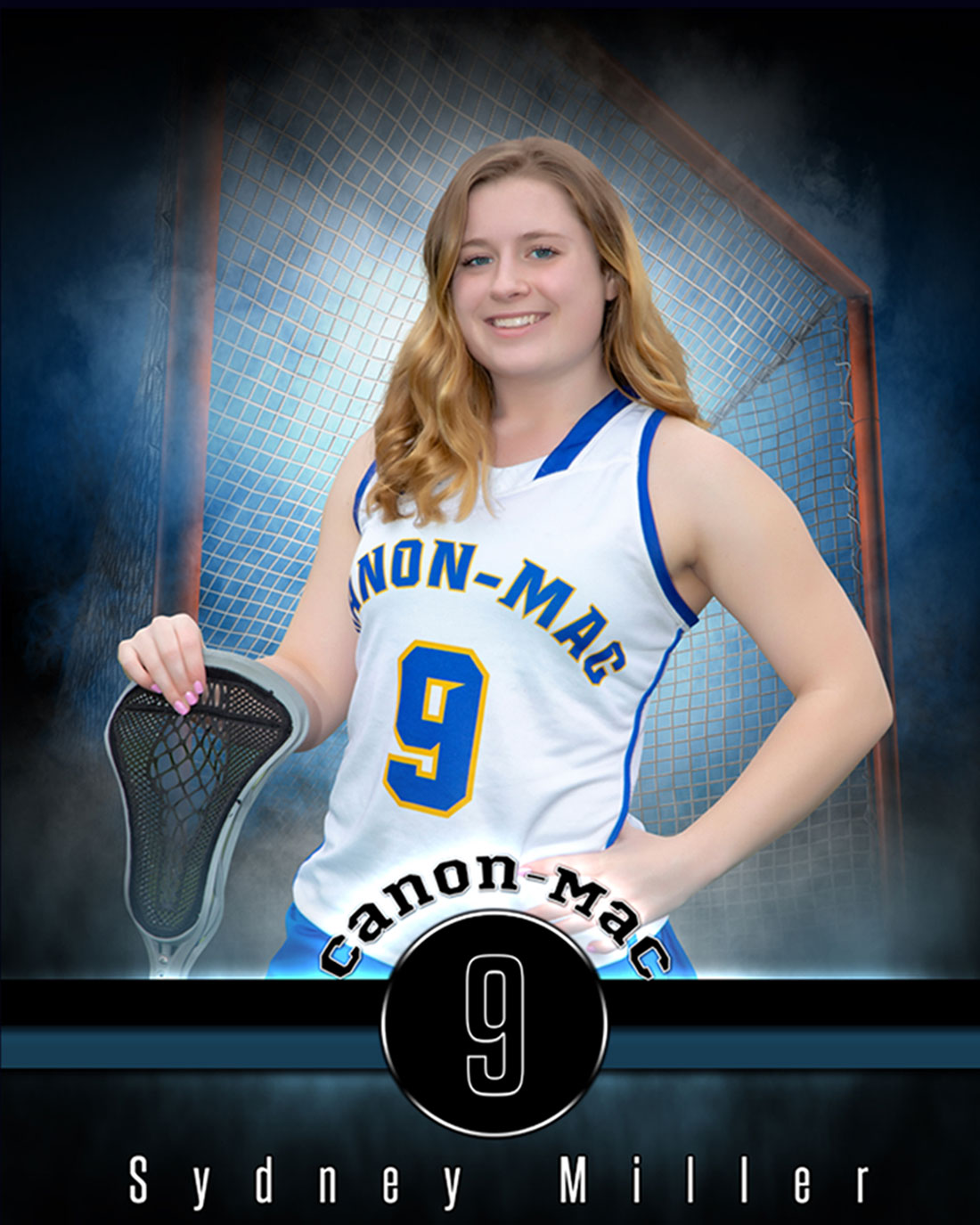 Lacrosse player with a Knock Out sports background